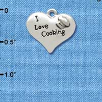 C2603 ctlf - I love Cooking Heart with Chef Hat - Silver Plated Charm (6 per package)