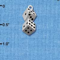C2672+ ctlf - 3-D Pair of Dice - Silver Plated Charm (6 per package)