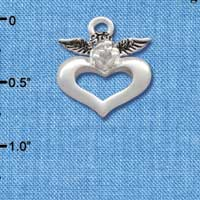 C2706 ctlf - Angel over Heart - Silver Plated Charm (6 per package)