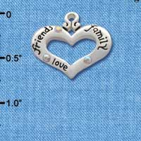 C2712 tlf - Heart with 3 AB Crystals - Friends, Family, Love - Silver Plated Charm (6 per package)
