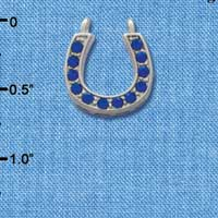 C2721 tlf - Horseshoe - Sapphire Crystal - Im. Rhodium Plated Pendant (2 per package)