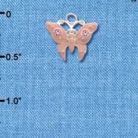 C2762 tlf - Pink Butterfly Charm with Pink Crystals - Silver Plated Charm (6 per package)