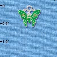 C2763 ctlf - Lime Green Butterfly Charm with Green Crystals - Silver Plated Charm (6 per package)