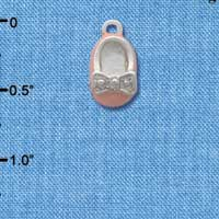 C2791+ ctlf - Pink Enamel Baby Shoe with Silver Bow - Silver Plated Charm (6 per package)
