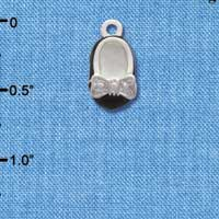 C2792+ ctlf - Black Enamel Baby Shoe Charm with Silver Bow - Silver Plated Charm (6 per package)