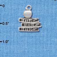 C2806 ctlf - Antiqued School Books with an Apple - Silver Plated Charm (6 per package)