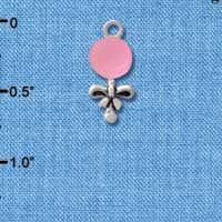 C2822+ ctlf - Pink Baby Rattle - Silver Plated Charm (6 per package)