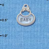 C2829+ ctlf - 2-Sided Blue Baby Bib - Silver Plated Charm (6 per package)