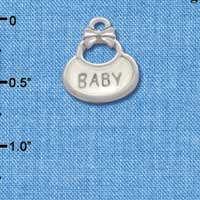 C2830+ ctlf - 2-Sided Clear Frosted Baby Bib - Silver Plated Charm (6 per package)