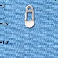 C2866+ ctlf - 2-Sided Clear Frosted Baby Safety Pin - Silver Plated Charm (6 per package)