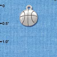 C2891+ tlf - Silver Basketball - 2 Sided - Silver Plated Charm (6 per package)