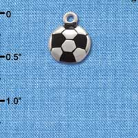 C2892+ tlf - Silver Soccerball - 2 Sided - Silver Plated Charm (6 per package)