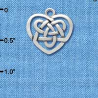C2963 tlf - Silver Celtic Knot Heart - Silver Plated Charm (6 per package)