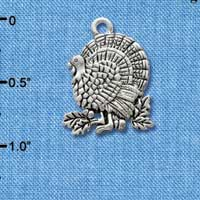 C2966+ ctlf - Antiqued Silver Turkey - 2 sided - Silver Plated Charm (6 per package)