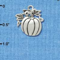 C2967 tlf - Large Antiqued Silver Pumpkin - Silver Plated Charm (6 per package)