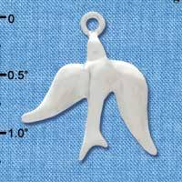 C2971+ tlf - 3-D Silver Dove - Silver Plated Charm (6 per package)