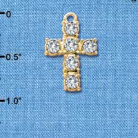 C3106 ctlf - Large Clear 6 Stone Crystal Cross - Gold Plated Charm (6 per package)