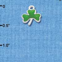 C3170 ctlf - Translucent Green Shamrock - Silver Plated Charm (6 per package)