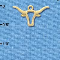 C3257 - Large Longhorn Head Outline - Gold Plated Charm (6 per package)
