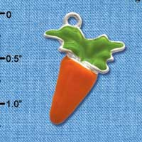 C3370 tlf - Enameled Carrot - Silver Plated Charm (6 per package)