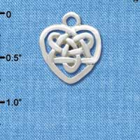 C3376 tlf - Small 2-D Silver Celtic Heart Knot - Silver Plated Charm (6 per package)