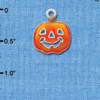 C3421 tlf - Translucent Orange Jack O'Lantern Pumpkin - Silver Plated Charm (6 per package)