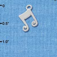 C3464 tlf - Silver Double Music Note - Im. Rhodium Plated Charm (6 per package)