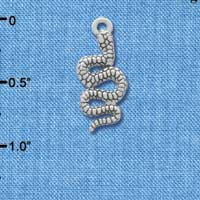 C3468 tlf - Medium Silver Antiqued Snake - Silver Plated Charm (6 per package)