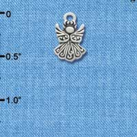 C3476 tlf - Small Silver Angel - Silver Plated Charm (6 per package)