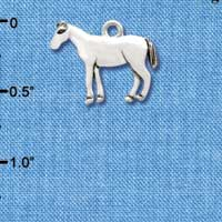 C3519+ tlf - Horse - 2-D - Silver Plated Charm (6 per package)