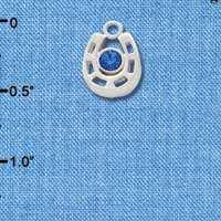 C3539 tlf - Small Silver Horseshoe with Blue Crystal Center Stone - Silver Plated Charm (6 per package)