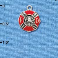 C3560 tlf - Red Enamel Fire Department Medallion - Silver Plated Charm (6 per package)