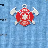C3561 tlf - Red Fire Department Shield with Axes - Silver Plated Charm (6 per package)
