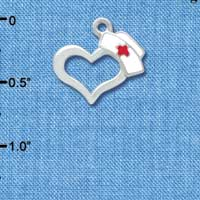C3646 tlf - Open Heart with Nurse Hat - Silver Plated Charm (6 per package)