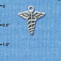C3650 tlf - 2-D Caduceus - Silver Plated Charm (6 per package)