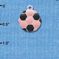 C3653 tlf - 2-D Pink Soccerball - Silver Plated Charm (6 per package)