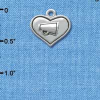 C3654 tlf - 2-D Silver Heart with Megaphone - Silver Plated Charm (6 per package)