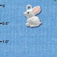 C3660 tlf - 3-D Silver Bunny - Silver Plated Charm (6 per package)