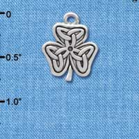 C3670 tlf - Silver Shamrock with Celtic Knot - Silver Plated Charm (6 per package)