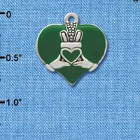 C3672 tlf - Large 2-D Claddagh on Green Heart - Silver Plated Charm (6 per package)