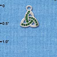 C3673 tlf - Small 2-D Green Trinity Knot - Silver Plated Charm (6 per package)