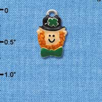 C3675 tlf - Small Leprechaun with Bow Tie - Silver Plated Charm (6 per package)