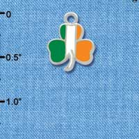 C3682 tlf - 2-D Irish Flag Shamrock - Silver Plated Charm (6 per package)