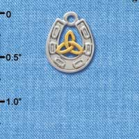 C3684 tlf - Silver Horseshoe with Gold Trinity Knot - Im. Rhodium Plated Charm (6 per package)