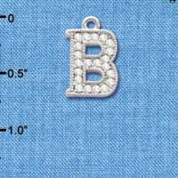 C3704 tlf - Crystal - B - Beaded Border - Silver Plated Charm (2 per package)