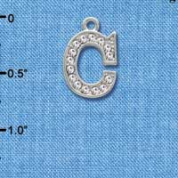 C3705 tlf - Crystal - C - Beaded Border - Silver Plated Charm (2 per package)