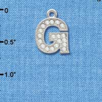 C3709 tlf - Crystal - G - Beaded Border - Silver Plated Charm (2 per package)
