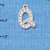 C3719 tlf - Crystal - Q - Beaded Border - Silver Plated Charm (2 per package)