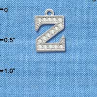 C3728 tlf - Crystal - Z - Beaded Border - Silver Plated Charm (2 per package)