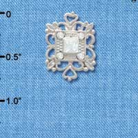 C3760 tlf - Square AB Swarovski Crystal with Filigree - Silver Plated Charm (2 per package)